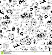 the background of halloween halloween seamless monochrome kids doodle pattern the day of the