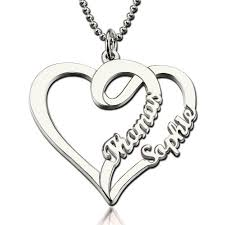platinum heart necklace images Double name heart necklace for couples valentine 39 s day gift jpg