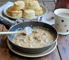 buttermilk biscuits with sausage gravy lavender and lovage