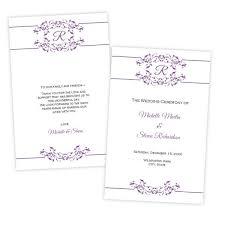 purple wedding programs programs folded a j s prints