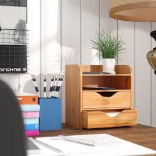 Bamboo Desk Organizer Rebrilliant Bamboo 4 Tier Desk Organizer Reviews Wayfair