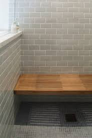 Bathroom Shower Bench Wooden Shower Bench With Blue Tile Traditional Bathroom San
