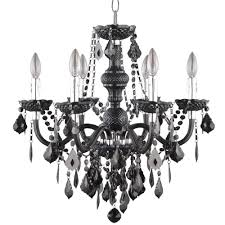 Clear Acrylic Chandelier Hton Bay Theresa 6 Light Chrome And Black Acrylic