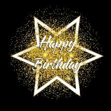happy birthday background with gold glitter confetti vector free