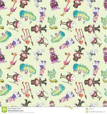 seamless alice in wonderland pattern stock photos image 18845113