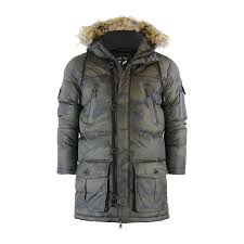mens parka jacket brave soul runcorn camo fur hooded military coat
