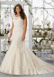 bridal wedding dresses alençon lace appliqués and scalloped edging frosted with beading