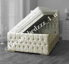crushed velvet storage ottoman divan bed upholstered headboard