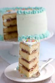 classic yellow layer cake with fudge filling
