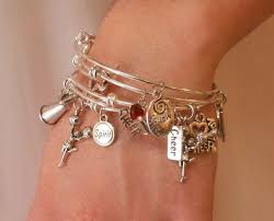 bracelet sets cheerleading charm bangle bracelet set of 4 silver