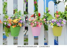 hanging flower pots fence stock photo 134507663 shutterstock