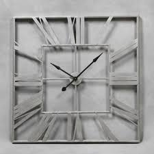 Large Silver Mantel Clock London Large Square Silver Painted Roman Numeral Skeleton Wall Clock