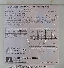 t 2 53012 s used acme general purpose transformer type 2 enclosure t 2 53012