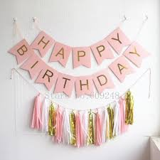 gold foil tissue paper light pink happy birthday party decorations set pink banner