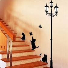 50x70cm lamp cat wall stickers home stairs sticker decor