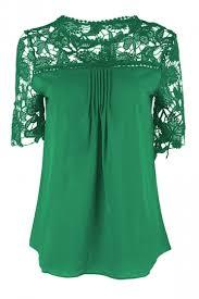 green womens blouse womens plain lace splicing sleeve blouse green