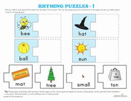 rhyming puzzles kindergarten phonics worksheets education com