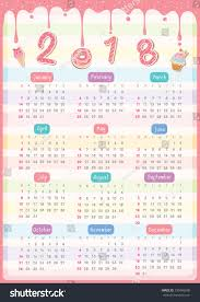 twelve month calendar 2018 year design stock vector 730495690