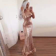 mermaid jewel long sleeves open back rose gold sequined prom dress