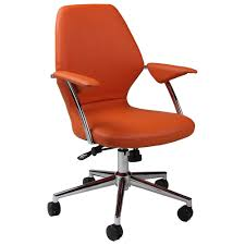Orange Chair by New Orange Leather Desk Chair 38 In Simple Design Decor With