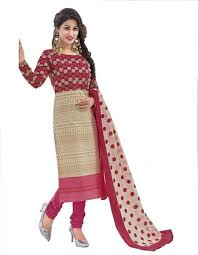cotton exclusive beige and maroon printed dress material online