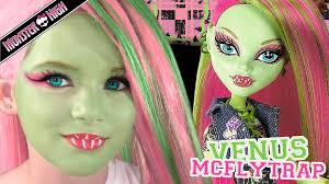 monster high halloween dolls venus mcflytrap monster high doll costume makeup tutorial for