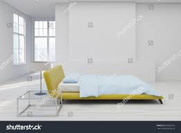 side view bedroom interior yellow double stock illustration