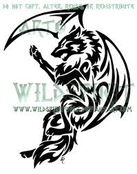 tribal dragon wolf tattoo by wildspiritwolf on deviantart