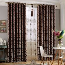 Thick Black Curtains Thick Suede Floral Patterned Embossed Blackout Curtains