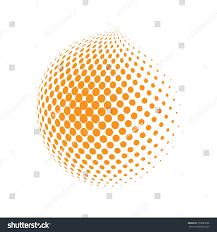 golden orange color abstract globe dotted sphere 3d halftone stock vector 765883006