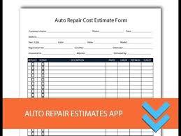 Auto Paint Shop Estimates by Free Auto Repair Estimates Form Freedform Com