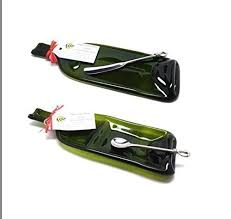 wine bottle serving dish 2 set of green slumped wine bottle serving