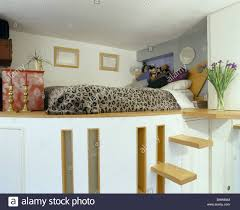 steps up to platform bed with animal print bed cover in small