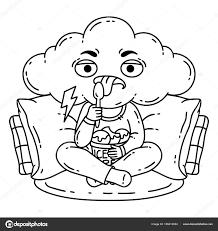 Frustré mauvaise humeur personne manger la crème glacée  Image