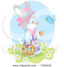 talking easter eggs clipart of a gray easter bunny rabbit balancing eggs