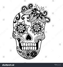 Halloween Skull Drawings Lines Art Design Unique Floral Skull Stock Vector 466719890
