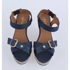 cork wedge sandal in navy with gold buckle
