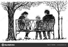 hand drawing of the family in the park u2014 stock photo mubaister