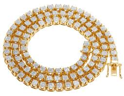real diamond necklace images Mens 10k yellow gold real diamond 6mm cluster tennis chain jpeg