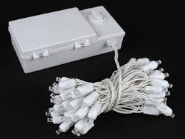50 led battery operated lights warm white on white wire