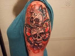 butterflies and skulls tattoos on half sleeve ideas