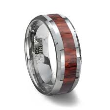 wood inlay wedding band tungsten carbide ring wood inlay wood wedding ring