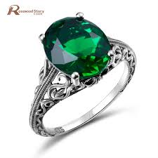 sterling gem rings images Bulgaria jewelry vintage charms green crystal ring for women jpg