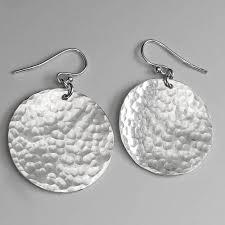earrings everyday sterling silver disc stud earrings handmade by lizardi jewelry