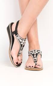 ikrush arizona silver embellished wedge sandals 3 black