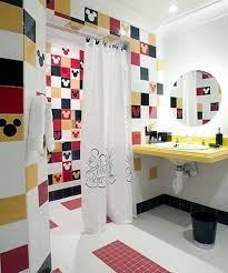 Kids Bathroom Vanities Disney Character Mickey Mouse Wallpaper With White Shower Curtain