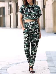 army pattern crop top camo hooded crop top and camo pants simple style camouflage and woman