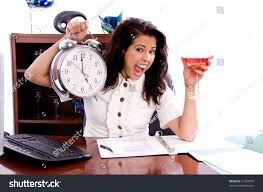 martini giant young professional business woman working office stock photo