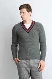 mens mid grey collegiate v neck sweater johnstons of elgin