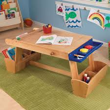 kidkraft art table with drying rack and storage paper roll tucks